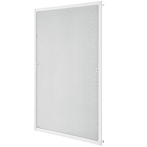 Juskys Fliegenschutzgitter für Fenster mit Aluminium Rahmen | 110 x 130 cm | weiß | Fliegengitter Fliegenschutz Insektenschutz