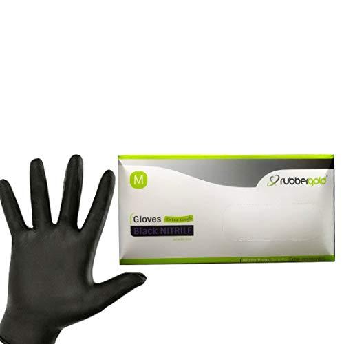 Guantes de nitrilo sin polvo, Caja de 100 unidades extra - resistentes Tallas S - M - L Color Negro (M, Negro)