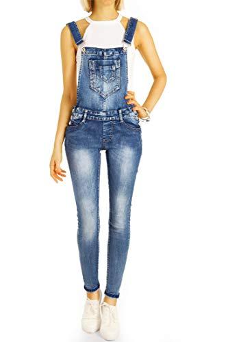 bestyledberlin Damen Jeans-Latzhose, Retro Hipster Overalls, Skinny Fit Denim-Trägerhosen j67i 34/XS