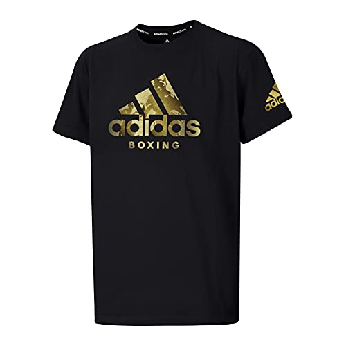 adidas Box-T-Shirt für Männer und Frauen, Erwachsene, für Fitnessstudio, Training, Fitness, Workout, Schwarz, L