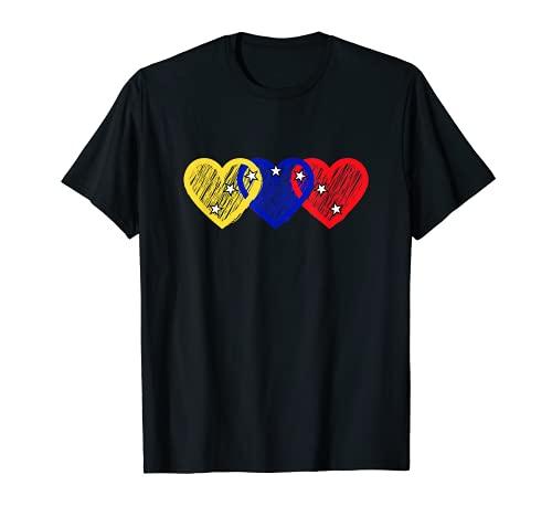 Venezuela Te Amo Tricolor Corazón 7 Estrellas Bandera Camiseta