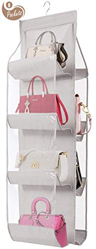 AARAINBOW Hanging Handbag Purse Organizer,Breathable Polyester Fiber+PVC Handbag Organizer,8 Easy Access Pockets,Wardrobe Closet Space Saving Organizers System,Washable,46 L x 13.8W (C-Light Gray)