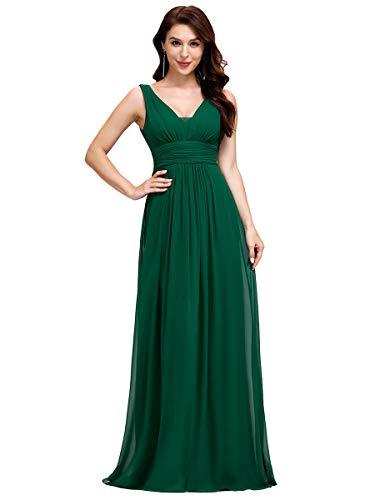 Ever-Pretty Vestito da Ballo Donna Linea ad A Scollo a V Chiffon Stile Impero Lungo Verde Scuro 44