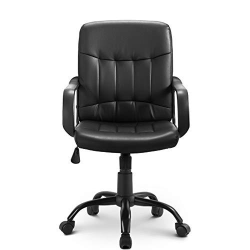 Silla de oficina ergonómica, estilo carreras, silla giratoria para escritorio, de piel sintética, altura ajustable, asiento reclinable de malla (negro) (cuero sintético)