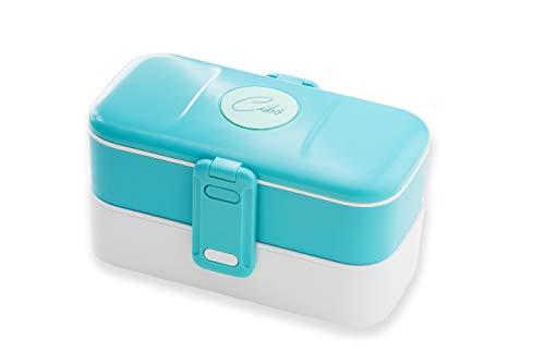 Cibò Bento Lunch Box - Porta Pranzo Ermetico Idoneo a Microonde e Posate in Acciaio Inox - 1,2 Litri (Azzurro)