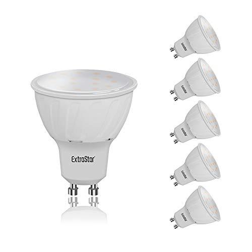 EXTRASTAR Lampadina LED GU10, 8W (equivalenti a 64W), 3000K 640 lumen,luce bianca calda- Pacco da 5