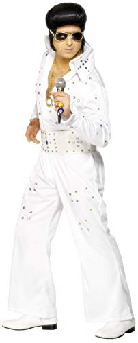 Smiffy's - Costume per Travestimento da Elvis, incl. Tuta, Gioielli e Cintura, Taglia: L, Colore: Bianco