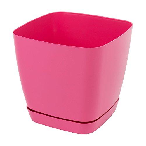 Pot de fleur Toscana en plastique carré 22 cm avec soucoupe, en rose
