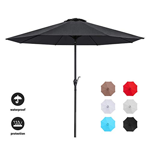 Devoko 9 FT Patio Umbrella Outdoor Table Market Umbrella with Easy Push Button Tilt for Garden, Deck, Backyard and Pool (Black)
