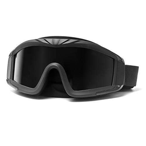 QWORK Airsoft - Gafas tácticas para deportes al aire libre, con 3 lentes intercambiables, protección UV, para paintball, equitación, caza, ciclismo, color negro