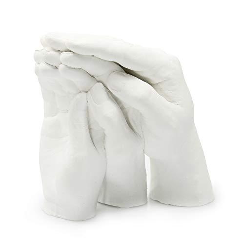 Lucky Hands® Familia Set para moldeo Trio+ | Set de moldear 3D para 3-4 Manos Adultas | Molde de Yeso para Familia | También para niños y Adolescentes (sin Base)