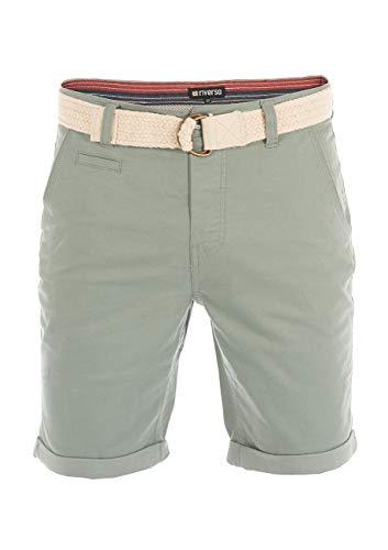 riverso Herren Chino Shorts RIVHenry Gürtel Bermuda Kurze Hose 98% Baumwolle Hellblau Dunkelblau Navy Rot Grün Orange Beige Grau w30 - w42, Größe:W 38, Farbe:Mineral Green (12300)