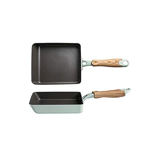 SLHP Tamagoyaki-Pfanne, Kleine Japanische Omelette Pfanne, Nonstick Pfannkuchen Eierpfanne Aluminium Sushi Crepe Pfanne (18.5 x 15.2 cm(Blau))