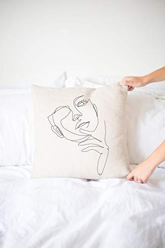 Mimi&Tone Abstraktes Gesicht - Premium Kissenhülle Dekokissen Line Art | Minimalistische Deko | Boho Kissen Weiß