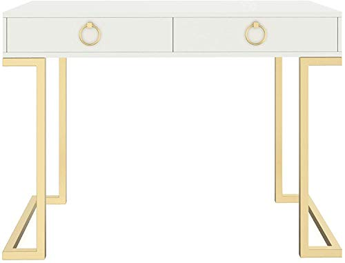 Nathan James 53301 Leighton Two-Drawer Home Office Computer Desk Vanity Table, Wood and Metal, White/Gold