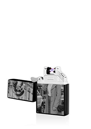 TESLA Lighter T03 Lichtbogen Feuerzeug, mit Foto-Gravur, personalisiert als Geschenk zu Weihnachten, Geburtstag etc. Elektronisches Feuerzeug, wiederaufladbar per USB inkl. Geschenkverpackung Schwarz