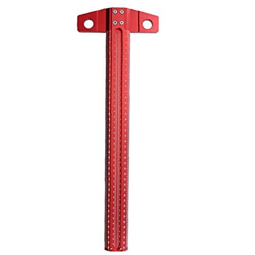 Odoukey T Regla T Tipo Plaza Regla de ángulo Recto Scribe Aluminio gramil 90 Grados T Scriber de 400mm Carpinteros Rojo