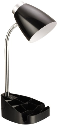 Limelights LD1002-BLK Gooseneck Organizer Desk Lamp with iPad Stand or Book Holder, Black