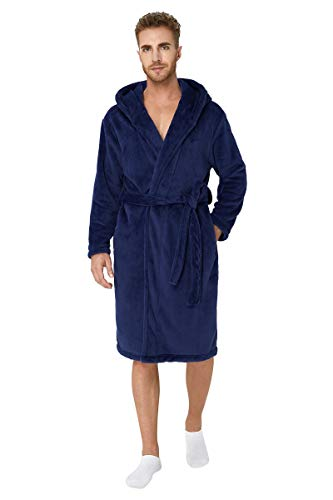 Fanient Herren Kapuzen Fleece Bademantel Spa Robe Hausmantel für Männer Marine