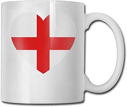 Taza de café Zjipeung New England con forma de corazón, de cerámica, con impresión a doble cara, 11oz