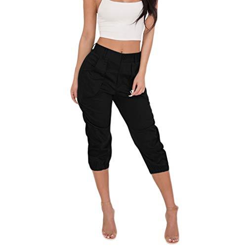 Femmes Boho Yoga Sport Fitness Pantalon Court à Taille Haute lanière de Poche Pantalon Femme