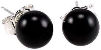 Trustmark 14K White Gold 6mm Black Onyx Ball Stud Post Earrings