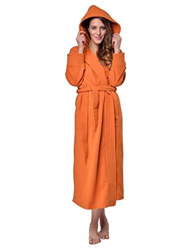 RAIKOU Albornoz de Baño para Mujer con Capucha - 100% Poliéster Certificado Oeko Tex - Bata Baño Mujer 2 Bolsillos, Cinturón y Cierre - Suave, Absorbente y Cómodo(Naranja,44-46)