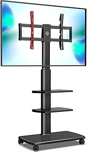Soporte de TV de piso de 32-70 pulgadas 3 con marco de administración de cables, TV móvil Transporte Carro, Rueda,Black