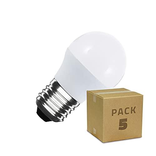 LEDKIA LIGHTING Pack Bombillas LED E27 Casquillo Gordo G45 5W (5 un) Blanco Neutro 4000K - 4500K