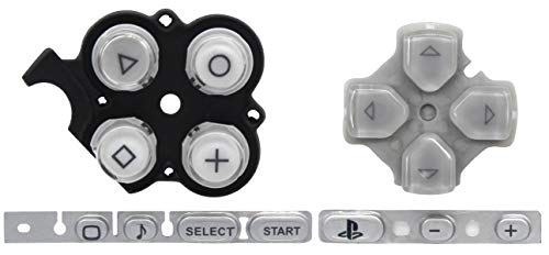 OSTENT Buttons Key Pad Set Repair Replacement Compatible for Sony PSP 3000 Slim Console - Color Silver