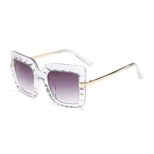 Gafas De Sol Hombre Mujeres Ciclismo Gafas De Sol Cuadradas Vintage De Cristal para Mujer, Lentes De Gradiente De Metal, Gafas De Sol para Hombre, Gafas De Sol-White_Gray