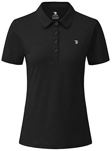 YSENTO Damen Golf Poloshirt Kurzarm Polohemd Schnelltrocknend Atmungsaktiv Sport Tennis Lady-Fit T-Shirts(Schwarz,L)