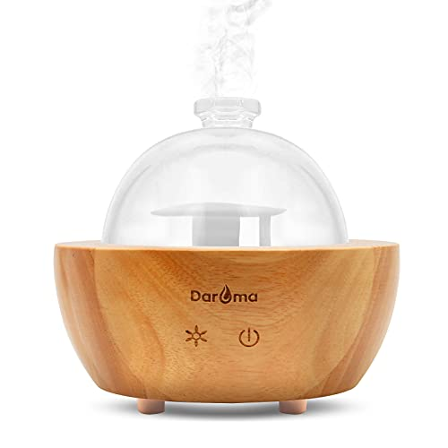 DAROMA Glass Essential Oil Diffuser, 200ml Real Wood Base, The 2021 Upgrade. Ultrasonic Aromatherapy Scent Air Nebulizing Room Humidifier Home Office Gift