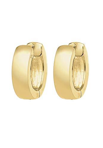 Elli PREMIUM Ohrringe Damen Creolen Basic Klassisch in 375 Gelbgold