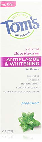 Tom's of Maine Tom's of Main Antiplaque & Whitening Fluoride Free Peppermint Toothpaste 5.50 oz (Pack of 4)