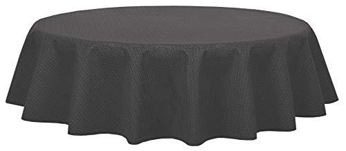 Brandsseller - Gartentischdecke geschäumt - wetterfeste und rutschfeste Tischdecke für Garten Balkon und Camping (Rund 140 cm, Grau)