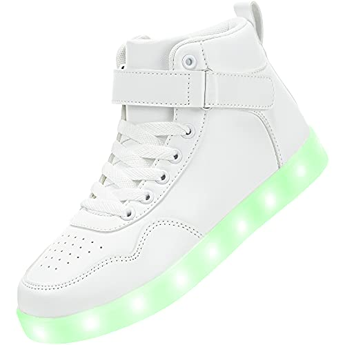 APTESOL Kids LED Light Up Shoes High Top Cool USB Rechargeable Flashing Sneakers for Halloween Xmas Birthday Gift School Party Dancing Unisex Child Boys Girls Footwear (White, 9.5 Toddler)