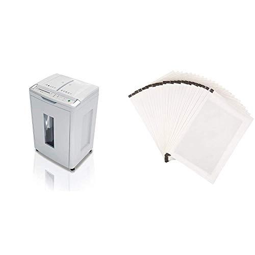 Shredcat 8283 CC Auto-Feed Aktenvernichter, 4 x 10 mm Partikelschnitt (bis 300 Blatt, Sicherheitsstufe P-4) & AmazonBasics - Schmiermittelblätter für Aktenvernichter, 24er-Pack