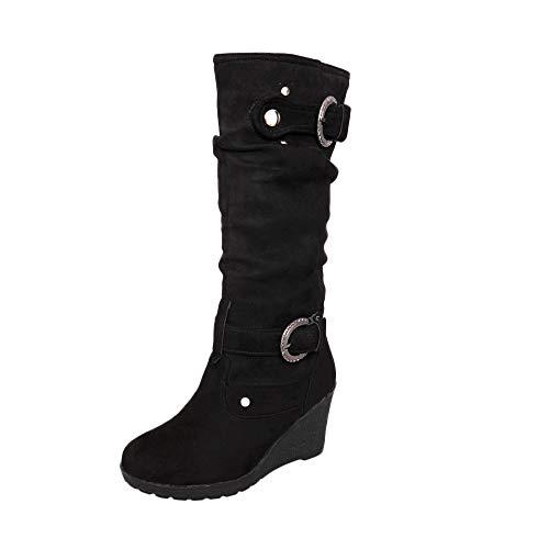 FAMILIZO Botas Mujer Otoño Botas Mujer Invierno Zapato Plano De Invierno De Las Mujeres Punta Redonda Espesar Cuñas De Las Señoras Tubo Largo Martin Boots Mujer Botas Altas