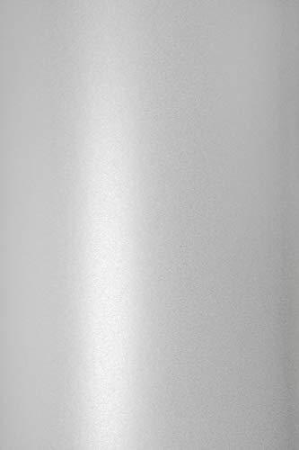Netuno 10x Blatt Perlmutt-Weiß 125g Papier DIN A4 210x297mm, Sirio Pearl Ice White, ideal für Hochzeit, Geburtstag, Taufe, Weihnachten, Einladungen, Diplome, Visitenkarten, Grußkarten, Scrapbooking