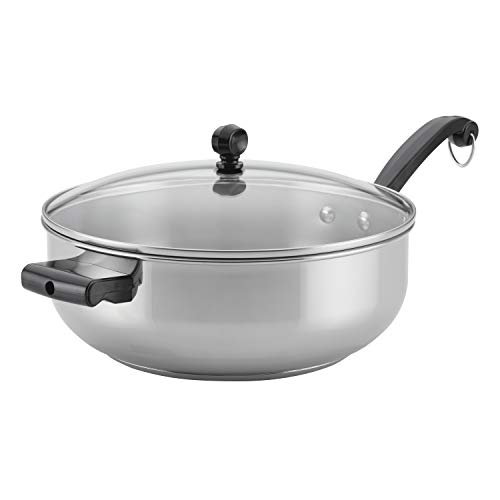 Farberware Classic Stainless Steel Fry Saute Pan/Chefpan with Lid, 6 Quart, Silver