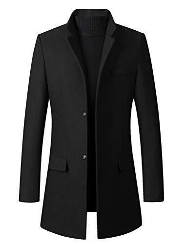 Mordenmiss Men's Trench Coat Wool Blend Slim Fit Jacket Winter Single Breasted Top Coat (Medium, Black)
