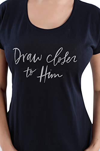 DZZO Cotton Black T-Shirt & Striped Printed Capri Set/Pyjama Set/Night Suit/Sleepwear/Nightwear/Nightdress/Loungewear for Women and Girls (Medium)
