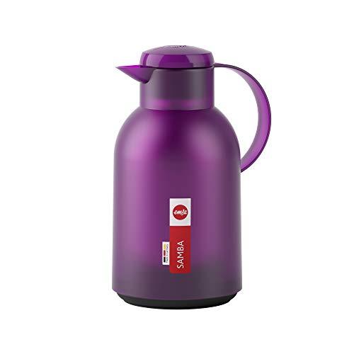 Emsa N4011800 Samba Isolierkanne (1,5 Liter, Quick Press Verschluss, 12h heiß und 24h kalt) Transluzent/Aubergine