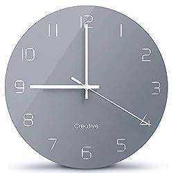 Glass Wall Clock 12 Inch Modern Minimalist Clock Silent Non Ticking Table Living Room Classic Ultra-Thin Minimalist Creative Wall Clock Mute Round Grey