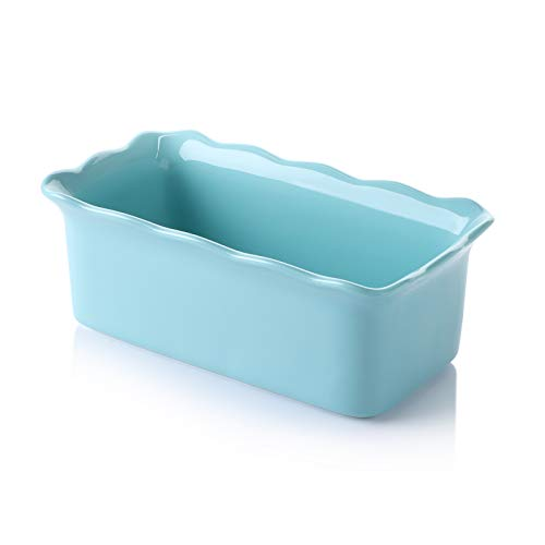 Sweese 519.102 Porcelain loaf pan for Baking, Non-Stick Bread Pan Cake Pan, Perfect for Bread and Meat, 9 x 5 inches, Turquoise
