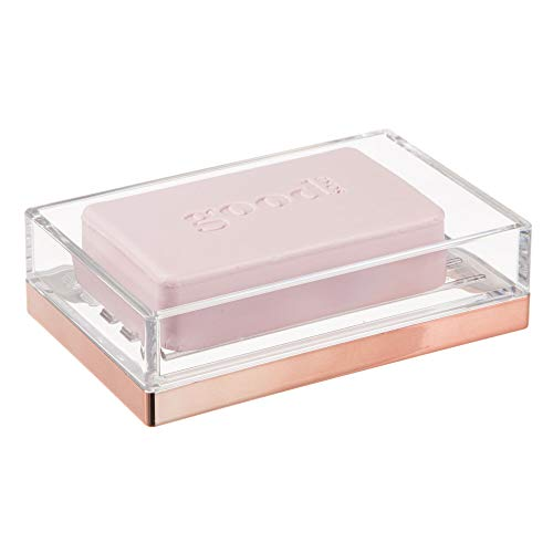 iDesign Clarity Bar Soap Dish for Bathroom Vanities, Rose Gold, 12.7 x 8.3 x 3.4 cm