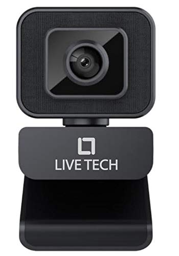 Live Tech Zoom Webcam Widescreen Video Calling, Light Correction, Noise-Reducing Mic, for Skype, FaceTime, Hangouts, WebEx, PC/Mac/Laptop/MacBook/Tablet - Black