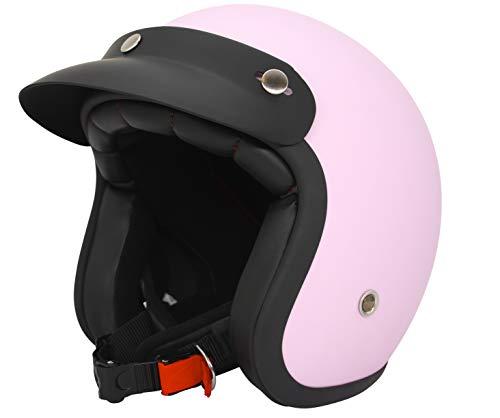 ORIGINAL Fräulein Irmi Retro Vespa-Helm, Jet-Helm mit Sonnen-Visier, Roller-Helm für Frauen und Herren im edlen Vintage-Look, Qualität nach ECE-Norm, rosa matt (S)