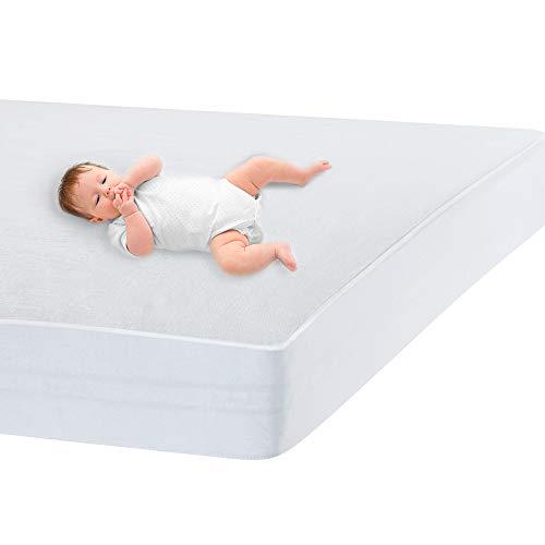 Bedecor Franela Protector de Colchón Impermeable- para Cuna -Transpirable, Hipoalergénico, Anti-bacteriano - 60 x 120 cm